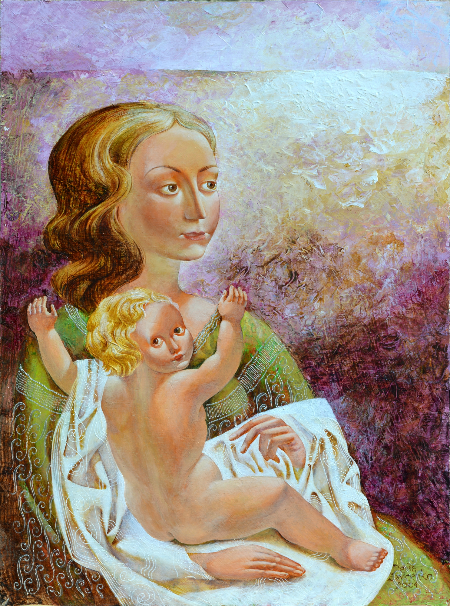 Denys Savchenko. Painting. Mother. Acrylic on wooden board. 56x40 cm.