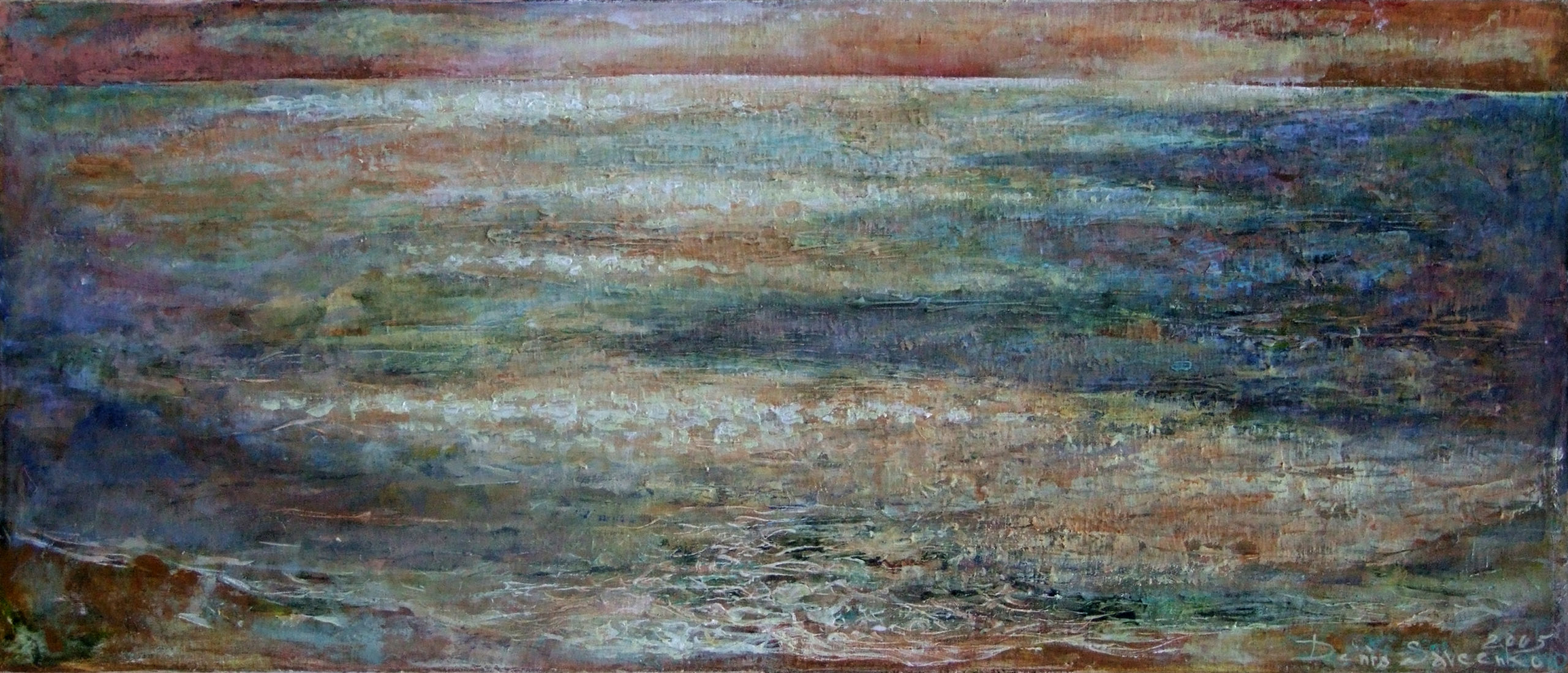 Denys Savchenko. Acrylic painting. Landscape. The sea. Acrylic on wood