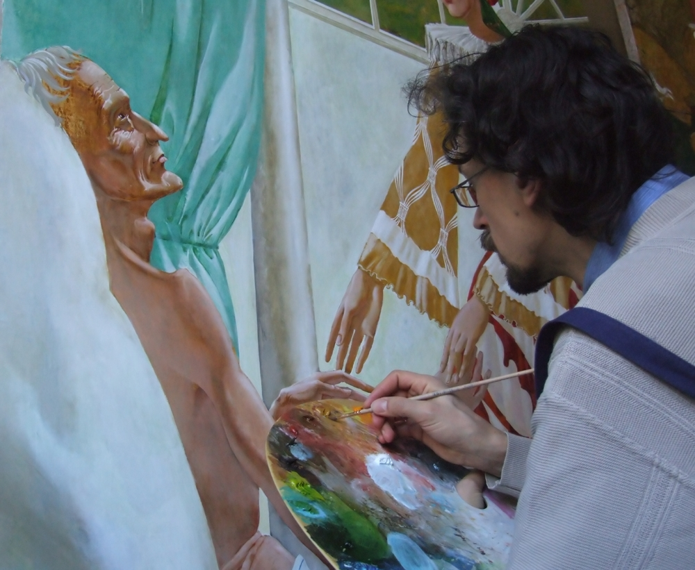 "Denys Savchenko. Painting ""Saint Catherin of Genoa"". At work"