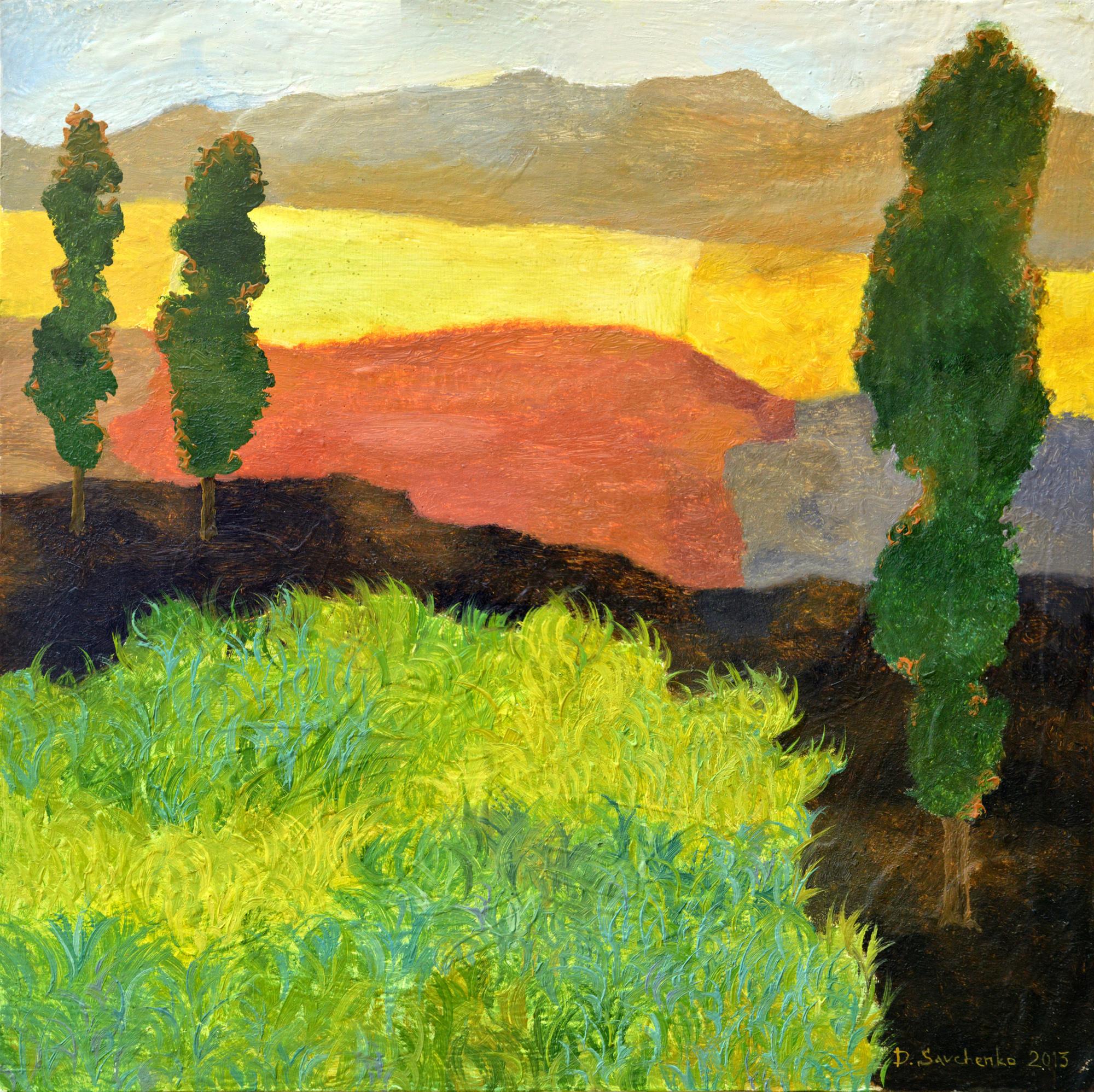 Denys Savchenko. Oil painting. Landscape. Poplars