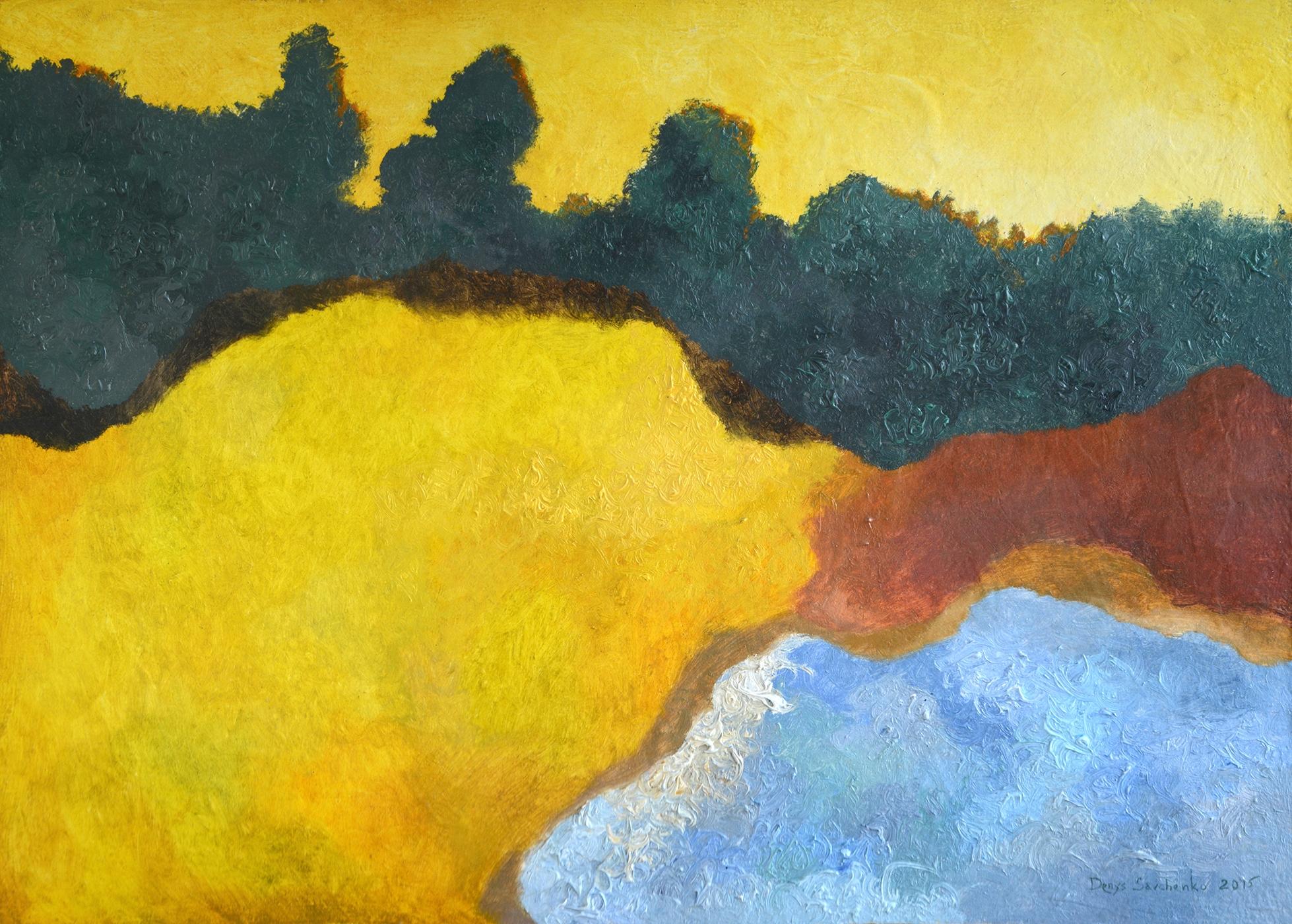 Denys Savchenko. Oil painting. Golden evening. Oil on wooden board.