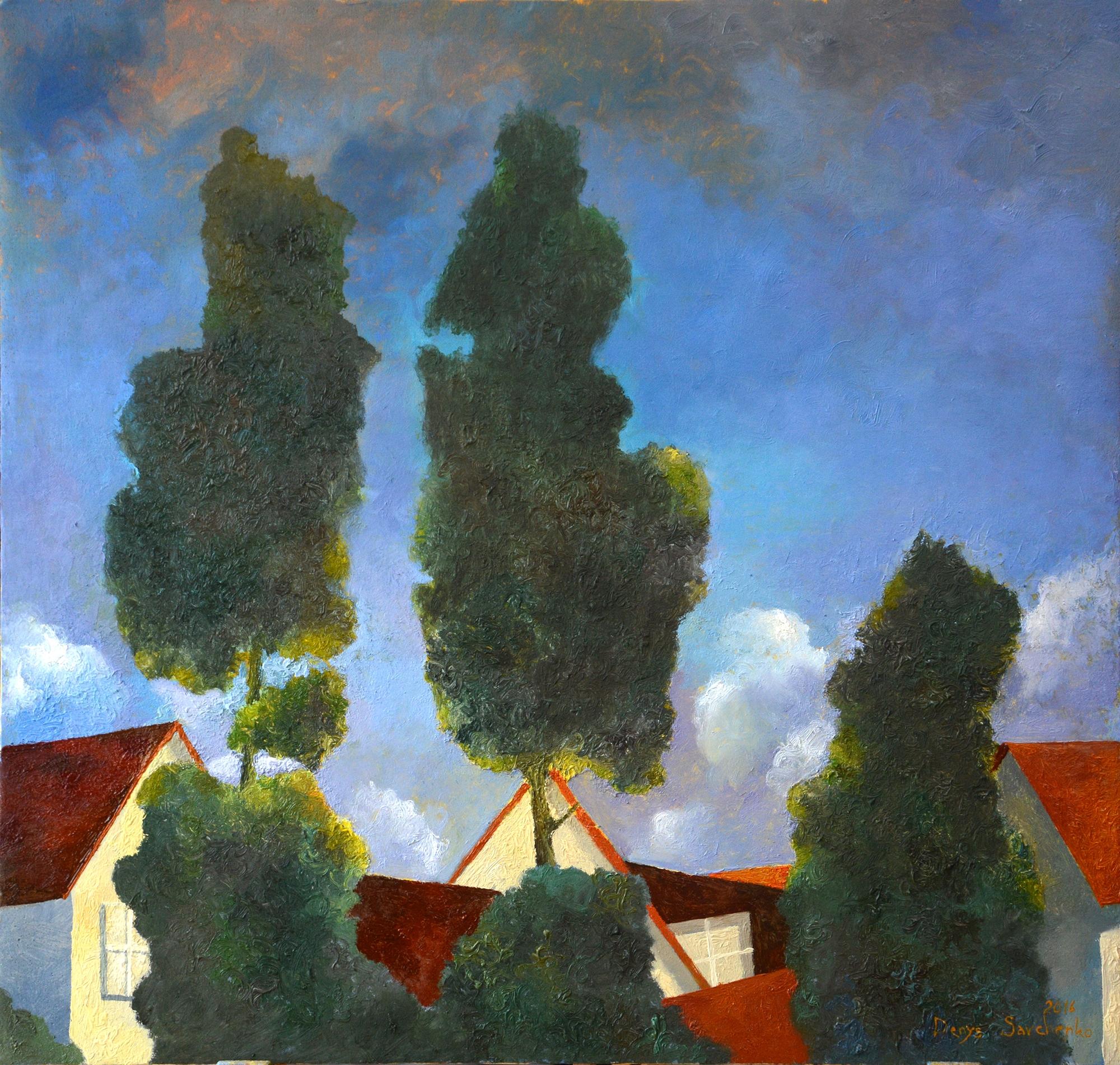 Denys Savchenko. Oil painting. Landscape. Evening sky