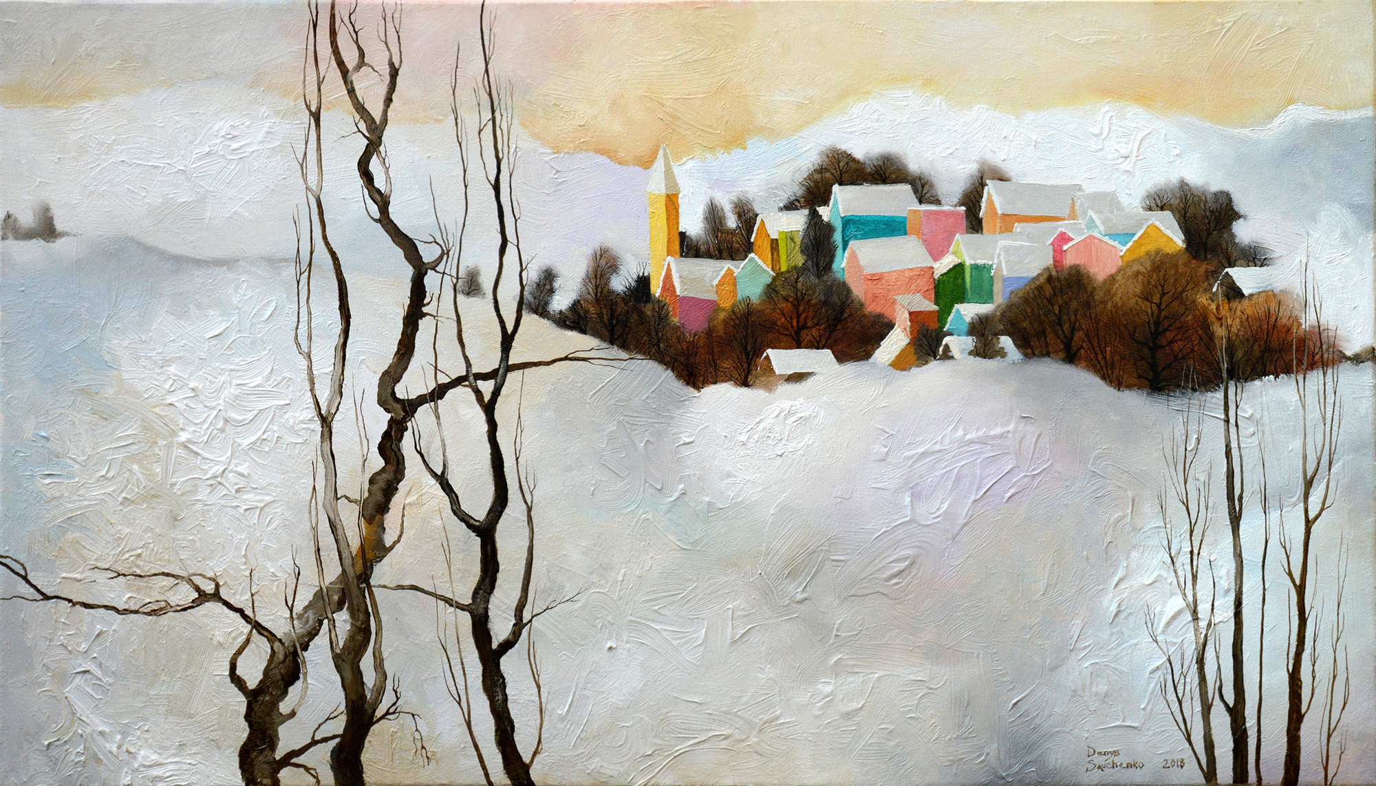Denys Savchenko. Oil painting. Landscape. Under snow