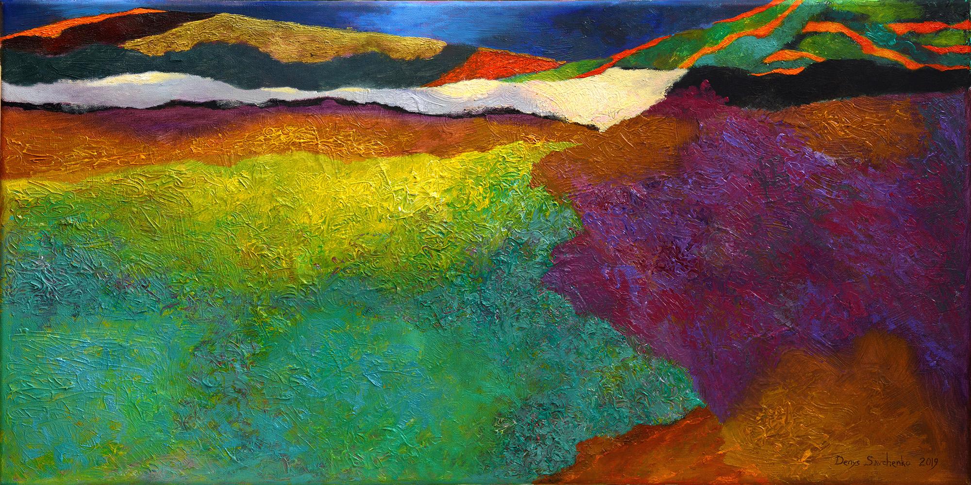 Denys Savchenko. Oil painting. 2019. Orange stripes. Oil, canvas. 40x80 cm. 2000px
