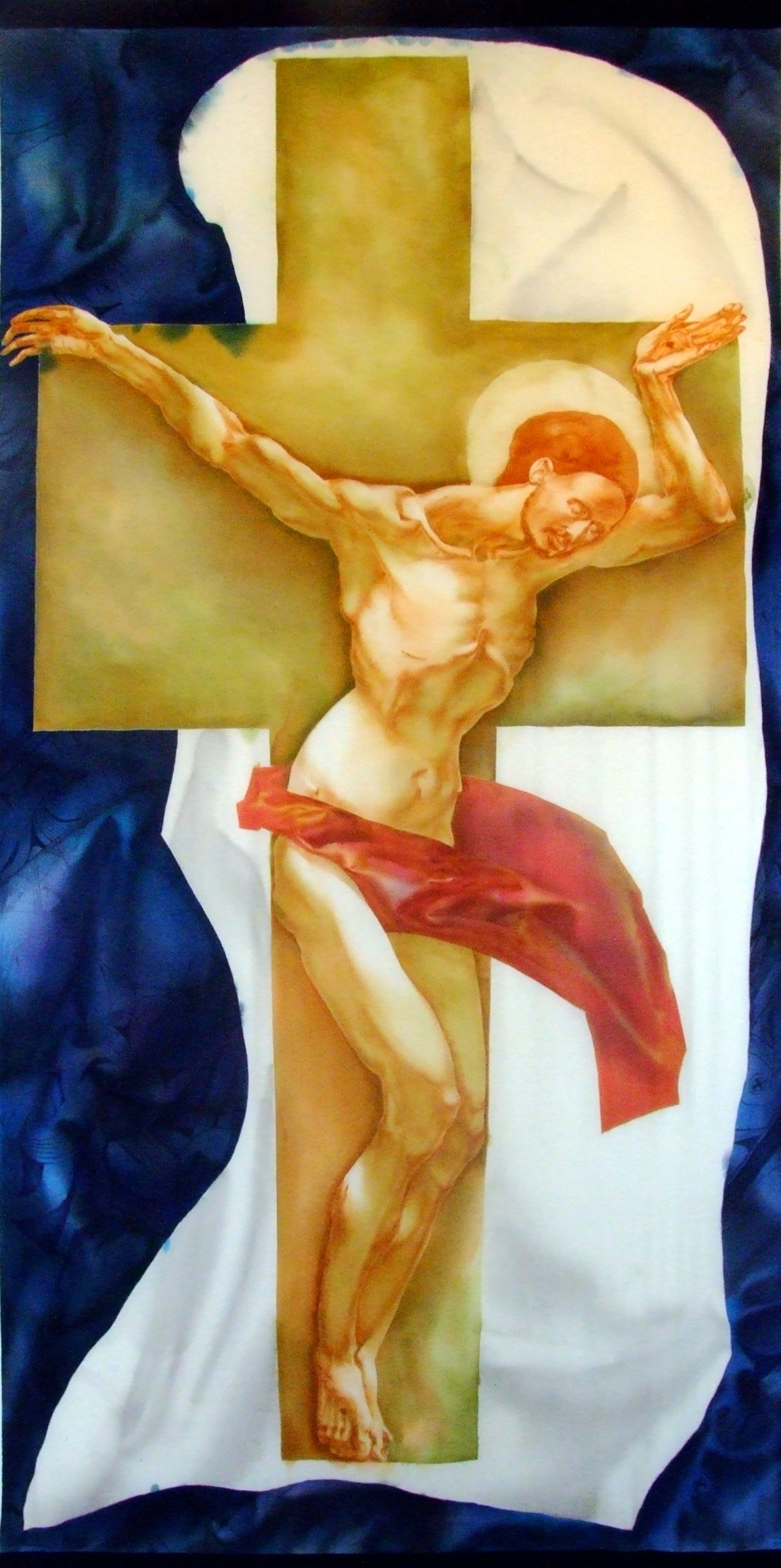 Denys Savchenko. 2001. Crucifix. Painting on silk.